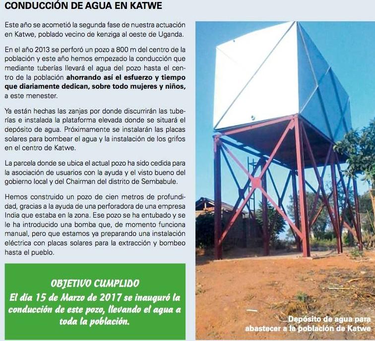 2º Fase Conducción  de agua KATWE  (Finalizada 2017)